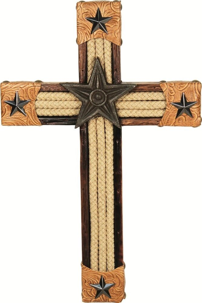 Western lone star 15 wooden wall cross home decor ebay Home decor wall crosses