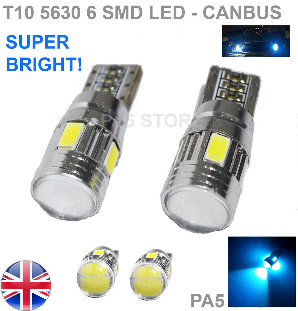 2x t10 6 smd 5630 led ice blue 501 w5w canbus side reverse. Black Bedroom Furniture Sets. Home Design Ideas