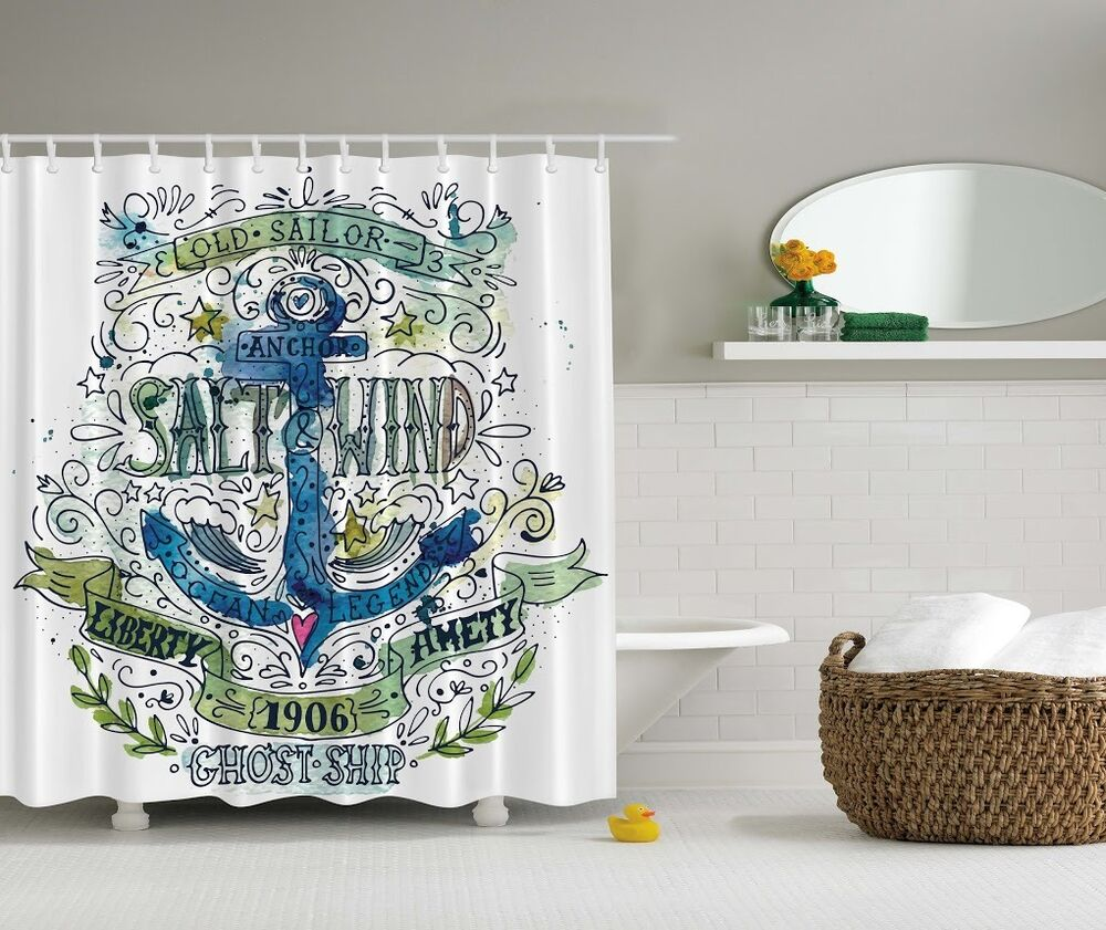 Anchor beach graphic shower curtain chain ship old sailor - Bathroom shower curtains and accessories ...