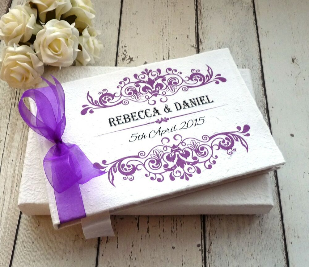 Personalised Wedding Gift Book : WEDDING GUEST BOOK PERSONALISED + FREE BOX ~ ROCOCO ORNATE SWIRL ...