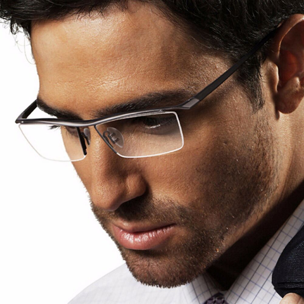 581a2d8cdc Details about Mens Metal TR90 Frame Glasses Rectangle Semi Rimless Clear  Lens Glasses