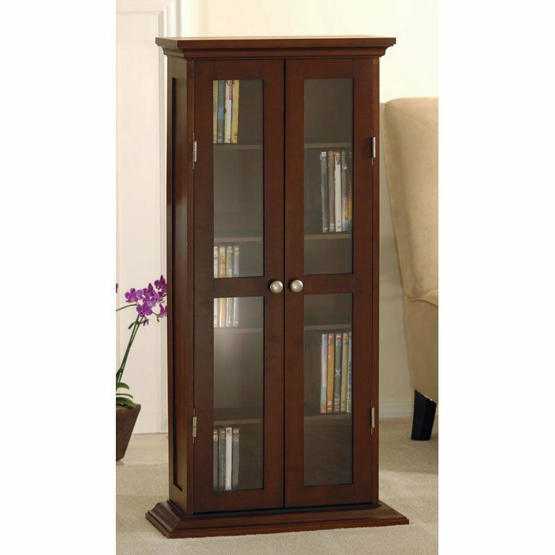 Modern Storage Cabinet Tall Glass Wood Contemporary Curio