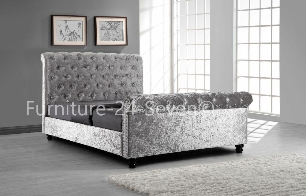 silver crushed velvet sleigh upholstered bed frame with. Black Bedroom Furniture Sets. Home Design Ideas