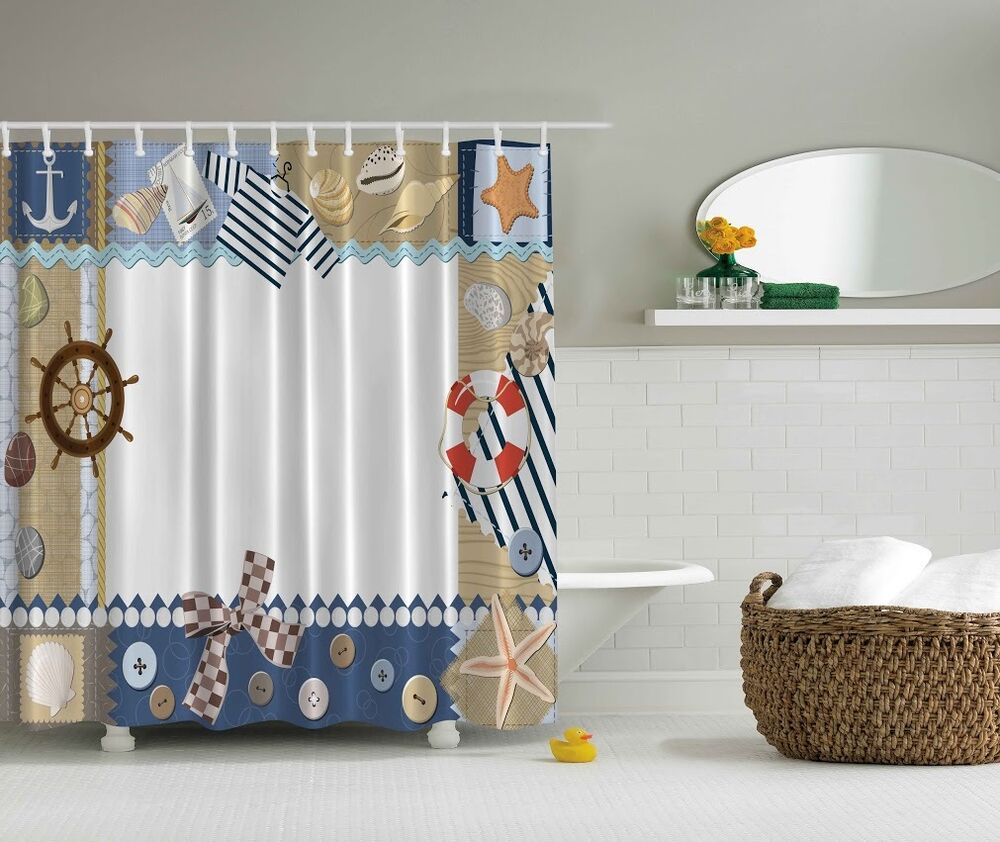 Nautical life ring beach shower curtain boat achor starfish bottons bath decor ebay Bathroom decor ideas with shower curtain