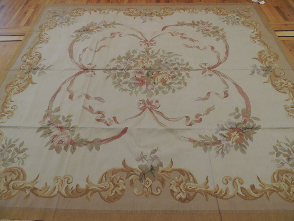 splendid french aubusson style square area rug 8x8 8x9 beige ivory ebay. Black Bedroom Furniture Sets. Home Design Ideas