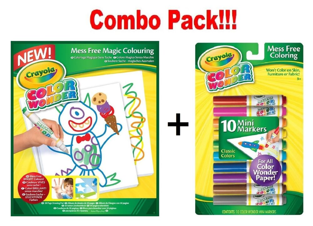 Crayola colour wonder 10 mess free mini markers x drawing for Crayola color wonder 30 page refill paper