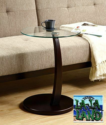Coffee side end round accent table glass top wood modern - Round glass tables for living room ...