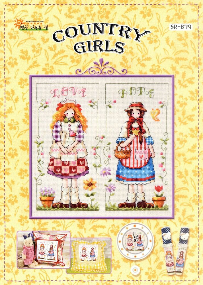 Country girls counted cross stitch chart shiny room sr for Country living magazine cross stitch