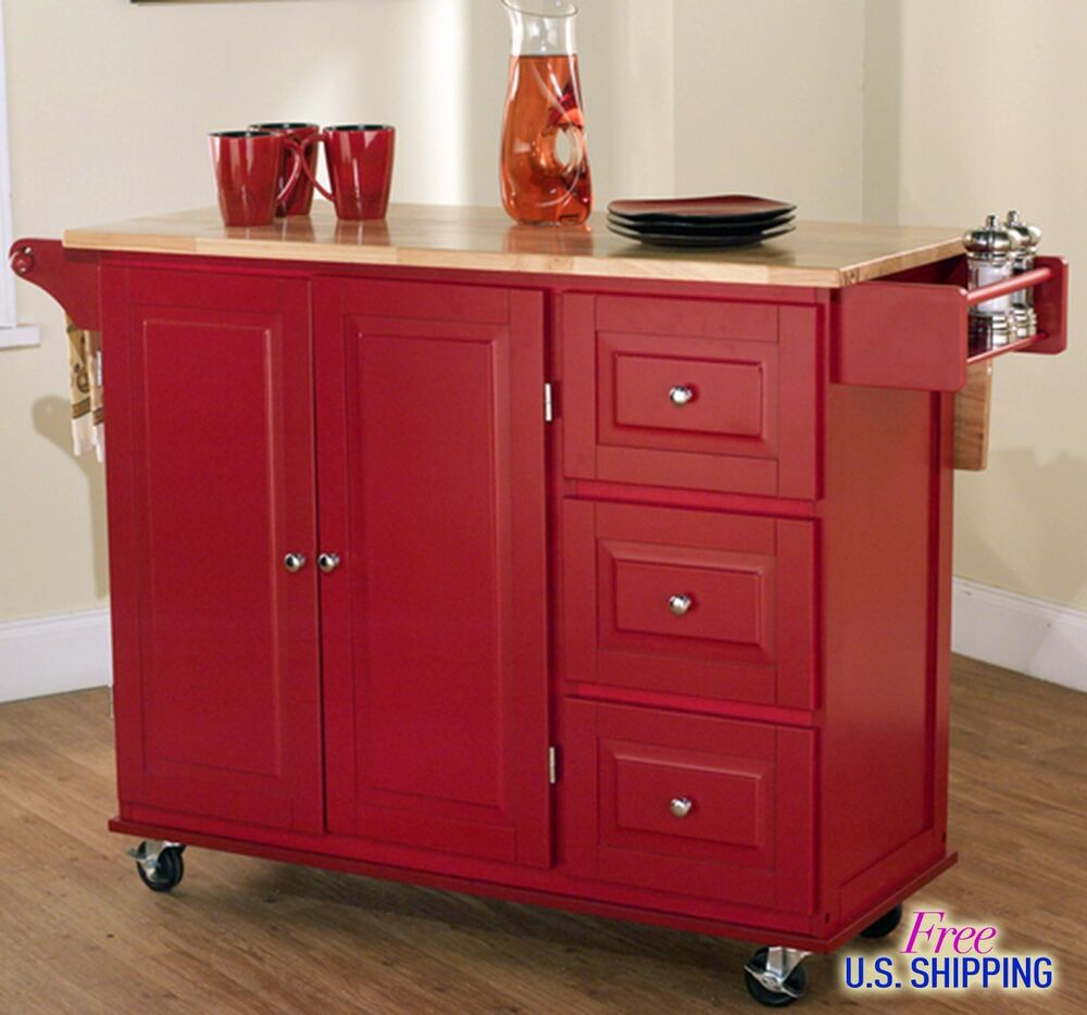 Large red kitchen cart island rolling storage cabinet wood portable spice rack ebay Kitchen utility island