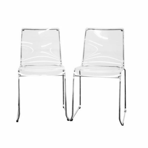 Set Of 2 Acrylic Dining Chair Clear Red New Ebay