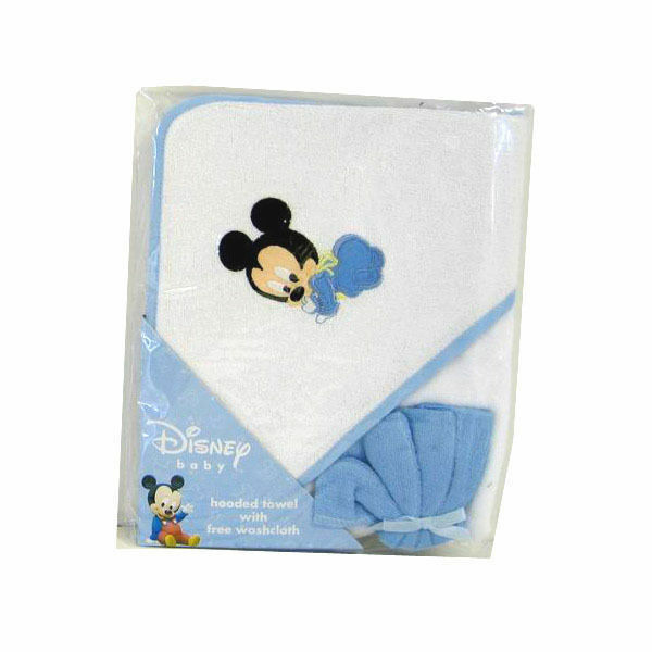 hooded towel washcloth infant baby boy blue disney mickey mouse new 47417828322 ebay. Black Bedroom Furniture Sets. Home Design Ideas