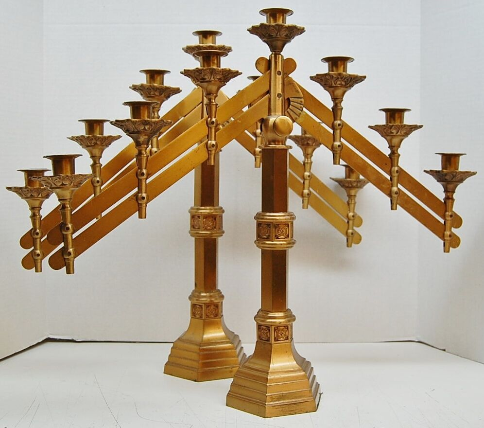 PAIR ADJUSTABLE ANTIQUE BRONZE 7 LIGHT CANDELABRA (CANDLE