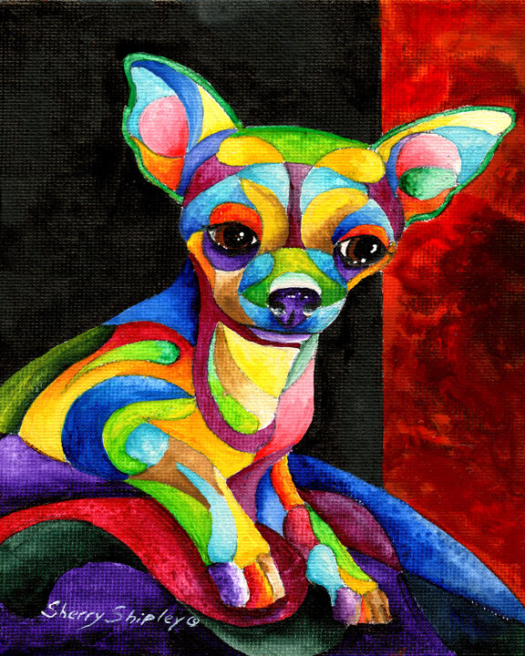 Chihuahua 8x10 Dog Print From Artist Sherry Shipley Ebay