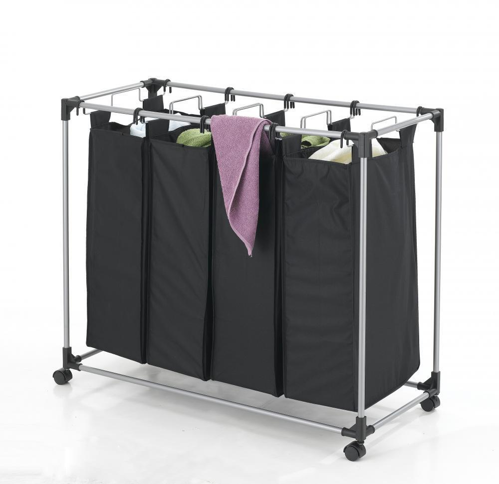 Black Heavy Duty 4 Bag Laundry Sorter Hamper Clothes
