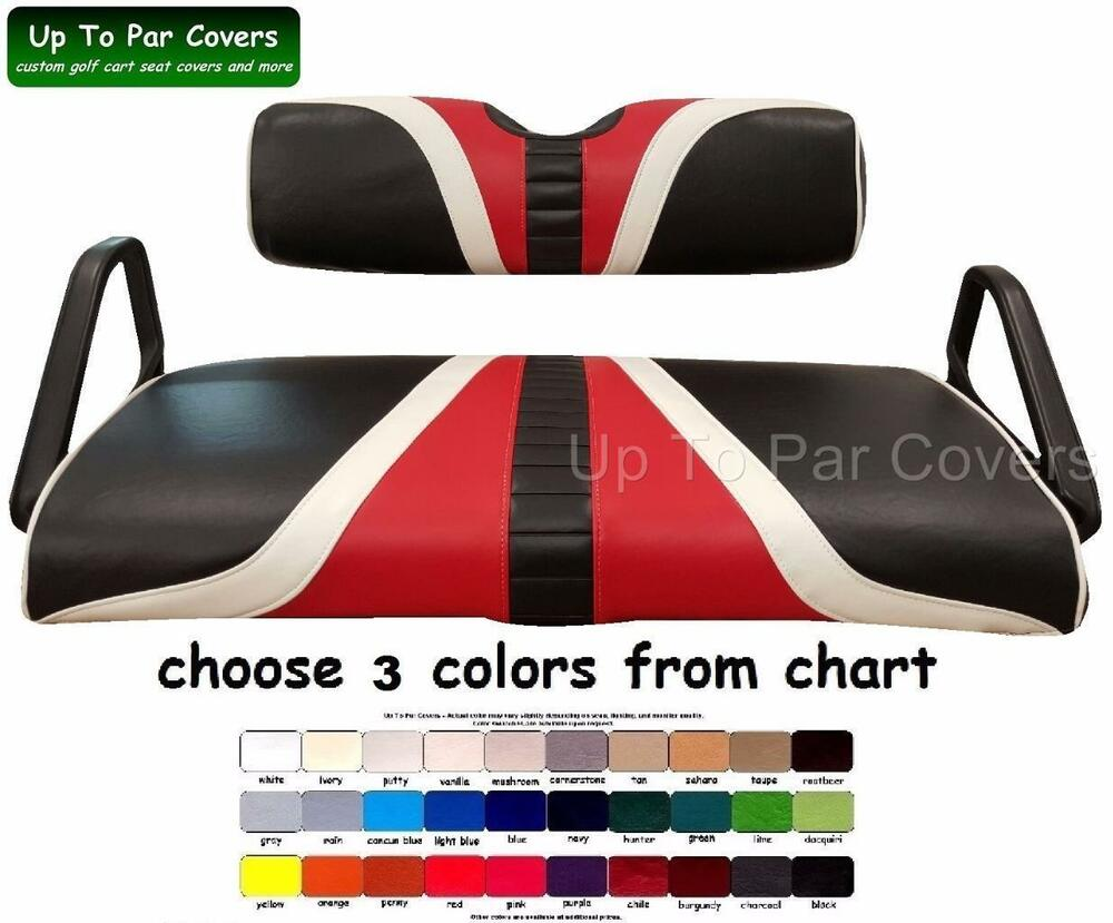 e z go txt hole in one golf cart custom vinyl seat cover zips on ebay. Black Bedroom Furniture Sets. Home Design Ideas