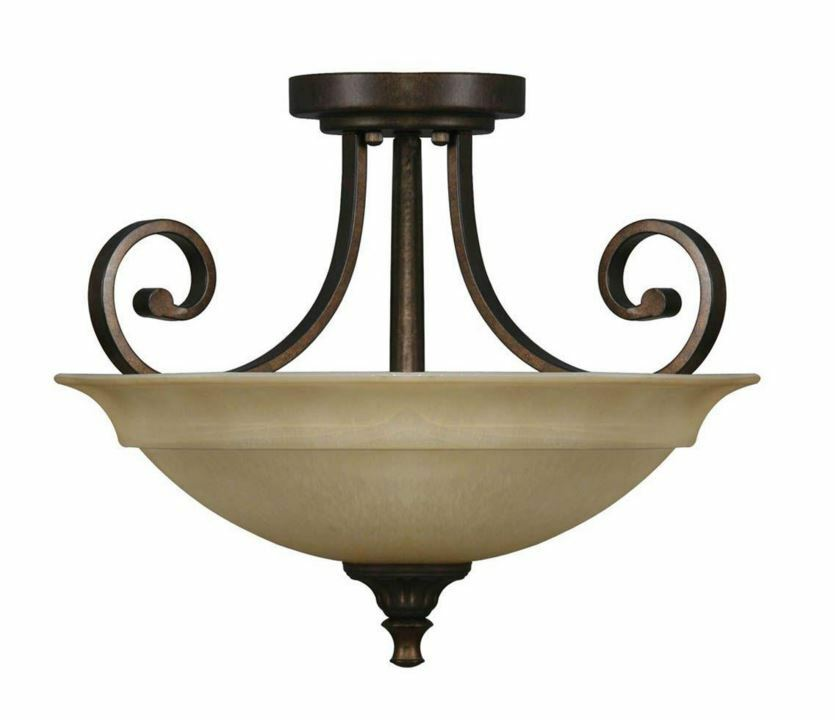 beige glass shade semi flush mount ceiling lamp lighting