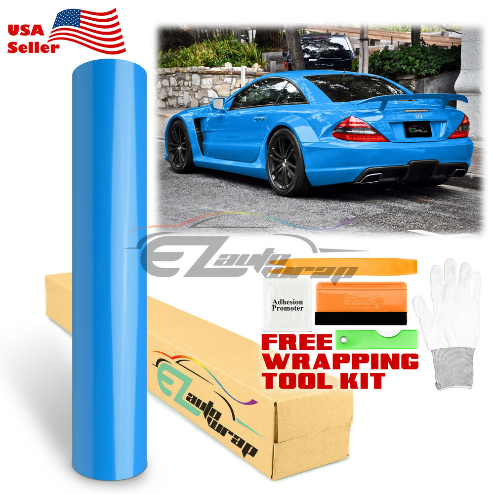 Details about gloss glossy sky blue vinyl car wrap sticker decal bubble free sheet film diy