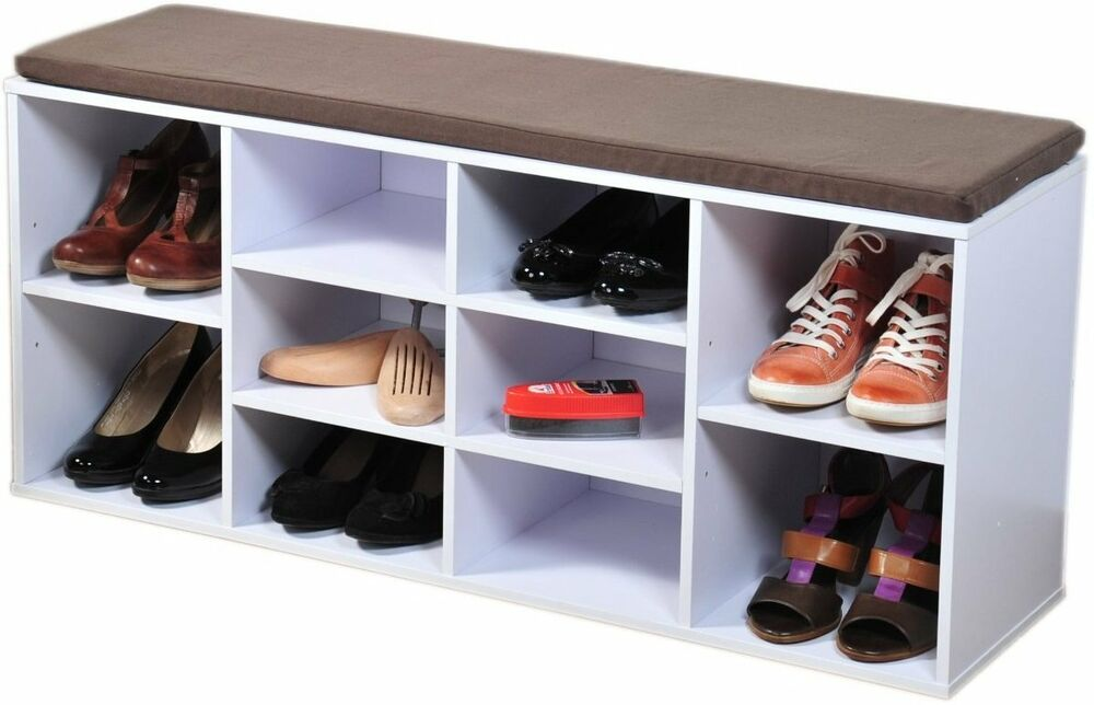 schuhschrank schuhregal schuhbank sitzbank schuhe schrank regal bank sitzkissen ebay. Black Bedroom Furniture Sets. Home Design Ideas