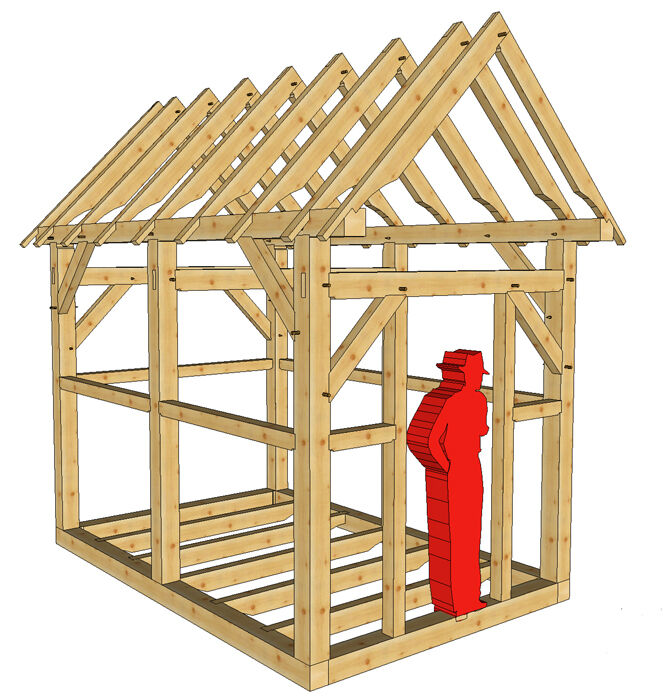 Timber frame 8 39 x 12 39 playhouse shed plans on 8 1 2 x11 for Diy timber frame plans