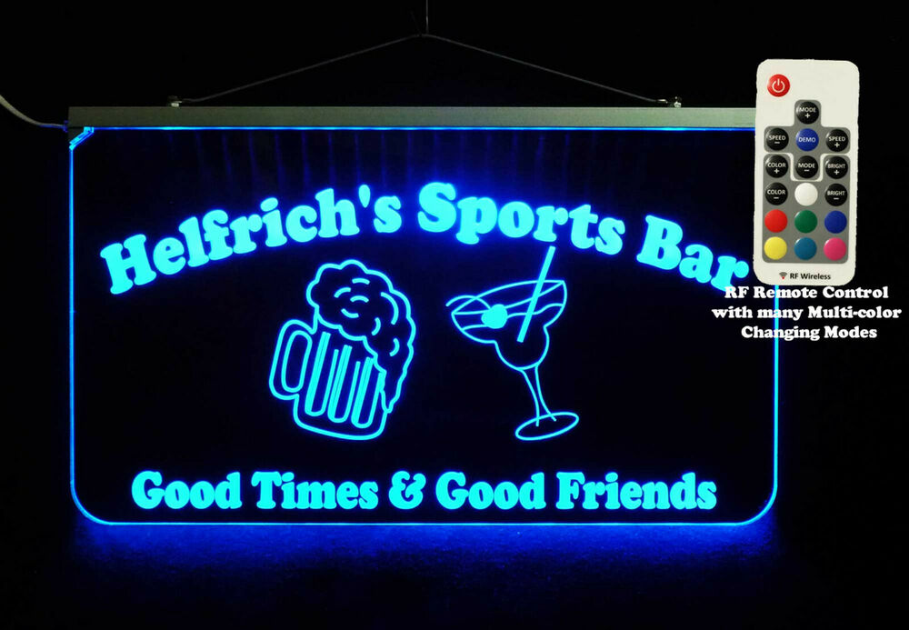 Personalized Man Cave Bar Signs : Personalized led sign sports bar man cave signage