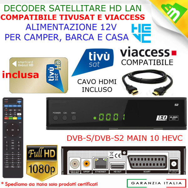 Decoder Satellitare Compatibile Tivusat HD Tivu Sat Con Tessera Inclusa Tv Sat