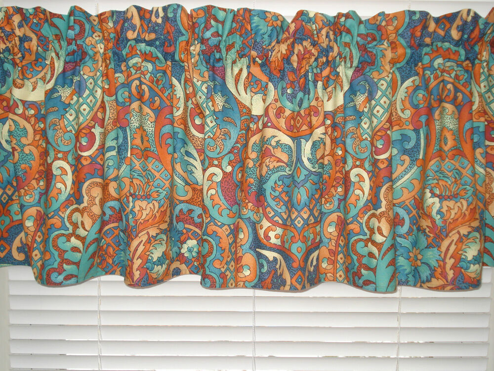 curtain valance window treatment floral and paisley beige blue teal rust ebay. Black Bedroom Furniture Sets. Home Design Ideas