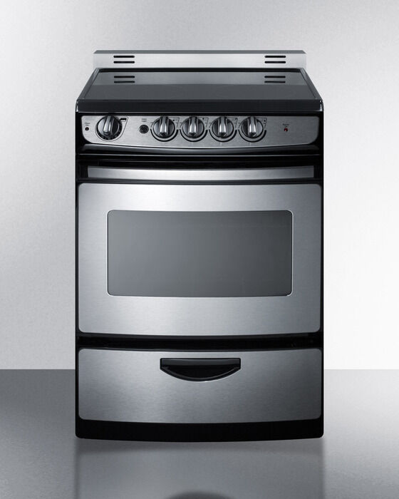 """Electric Range Smooth Top Cooking Surface Summit On In: Summit REX245SSRT 24"""" Slide In Electric Range Smooth Top"""