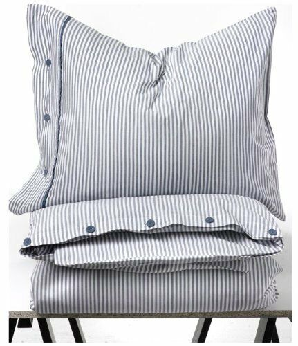Beautiful White And Blue Striped Pattern Duvet Cover And