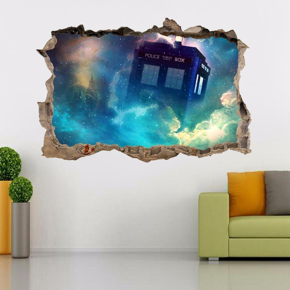 tardis dr who smashed wall decal removable graphic wall sticker art mural h292 ebay. Black Bedroom Furniture Sets. Home Design Ideas