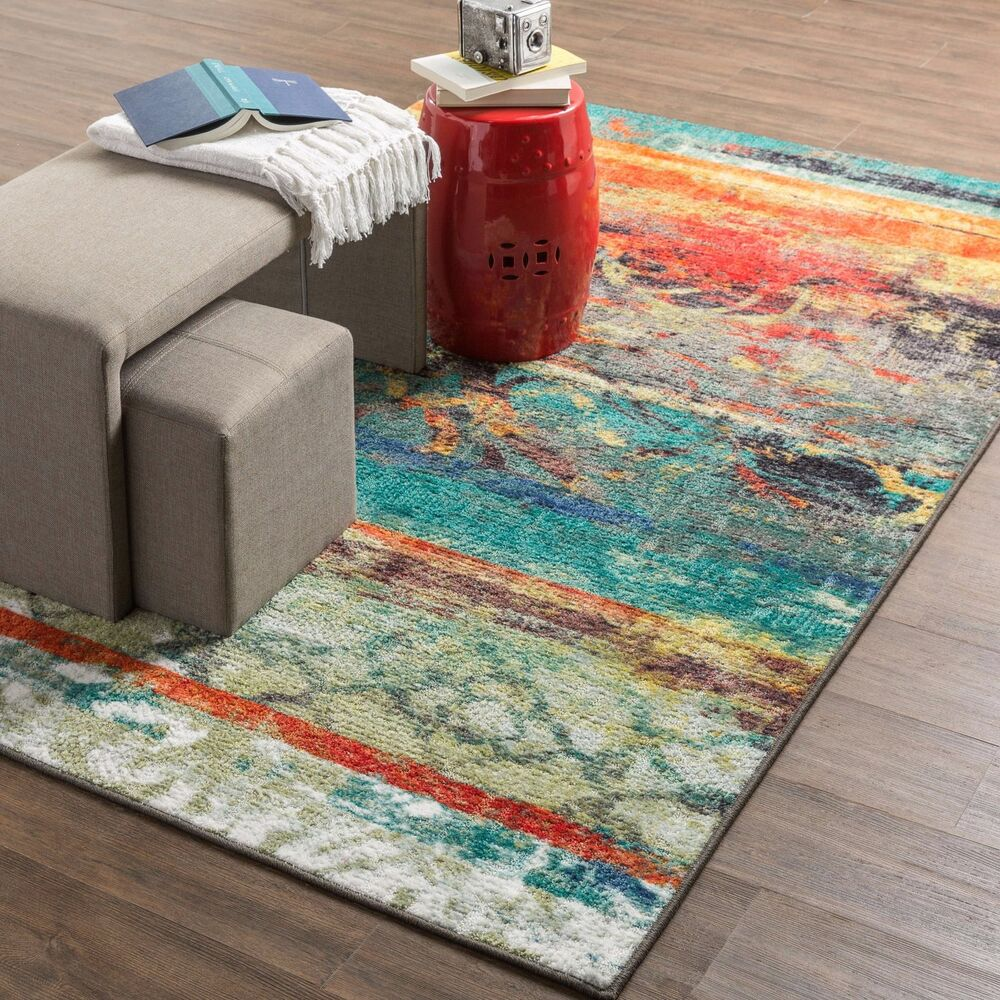 Multi color area rug 5x8 indoor red blue bright vibrant - Colorful rugs for living room ...