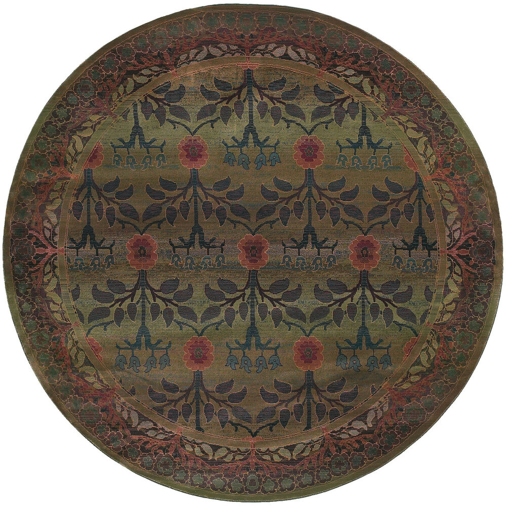 8 39 round william morris style arts crafts style area rug for Arts and crafts style rug