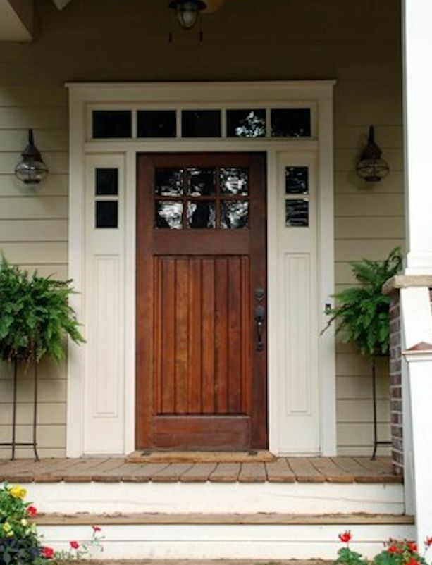 Knotty alder craftsman entry door with side lites ebay for Side entry door