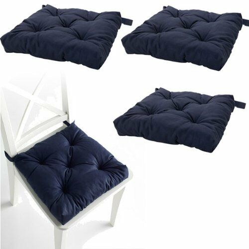 Set Of 4 Navy Blue Chair Cushions Pads Machine Washable Ebay
