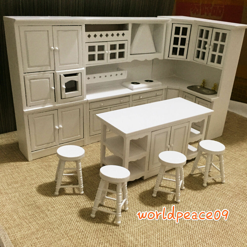 Dollhouse miniature white integrated kitchen furniture set for Furniture kitchen set