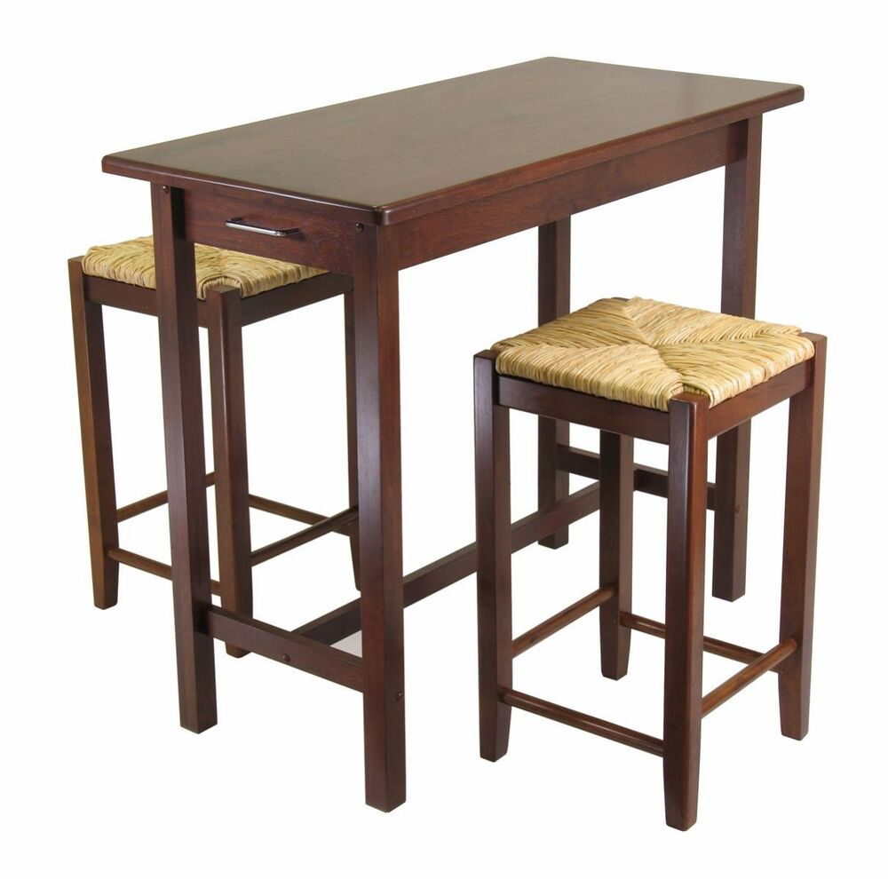 Wood Pub Bistro Small Bar Chairs Table Kitchen Nook: Breakfast Bar 2 Stools Set Table Nook Dining Wood Space