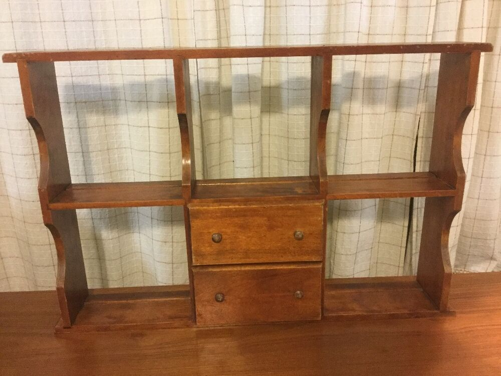 Vintage beautiful wood wall or desk shelf with drawers