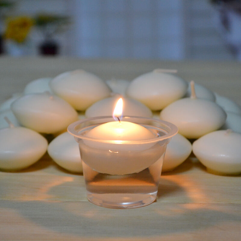 50 PCS round white floating candle Disc floater candles