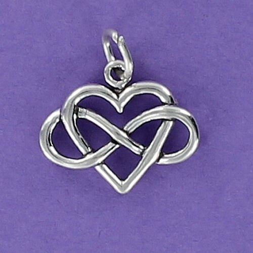 Infinity With Heart Charm Sterling Silver For Bracelet No