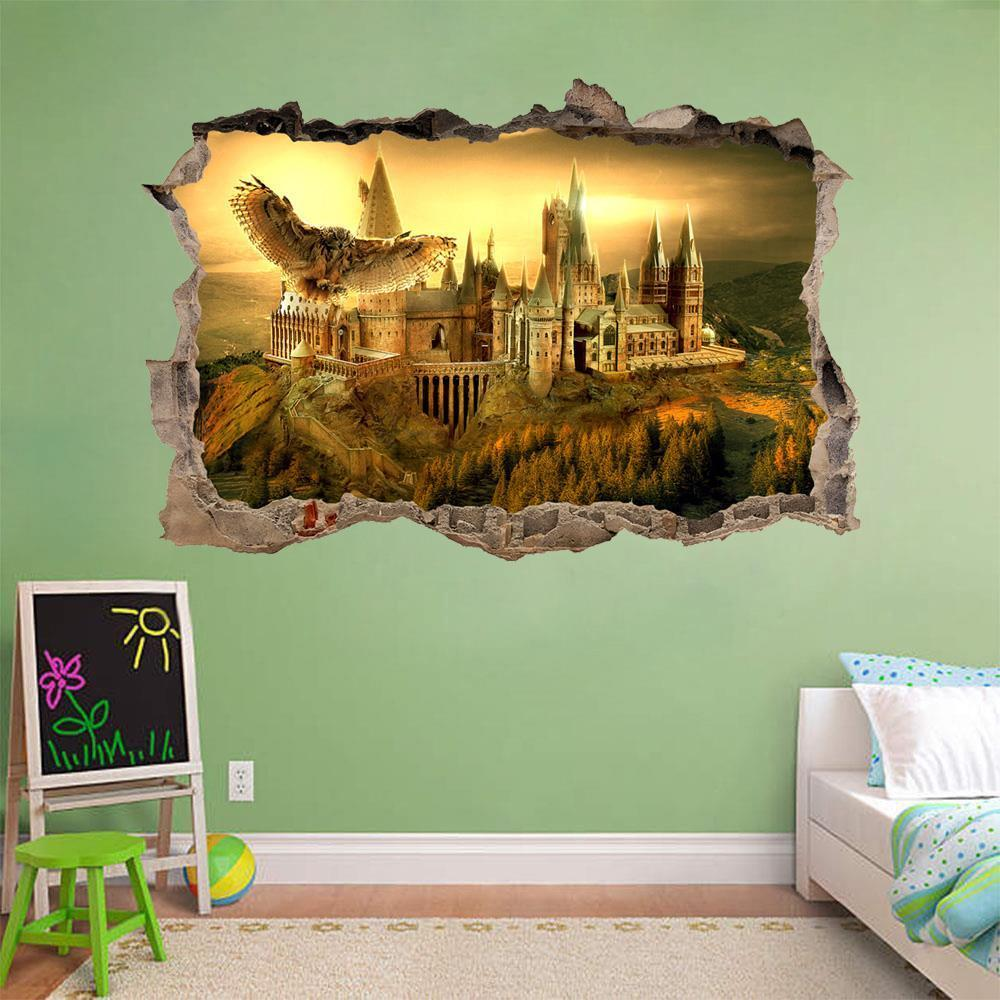 Hogwarts harry potter smashed wall decal removable wall for Mural wall art