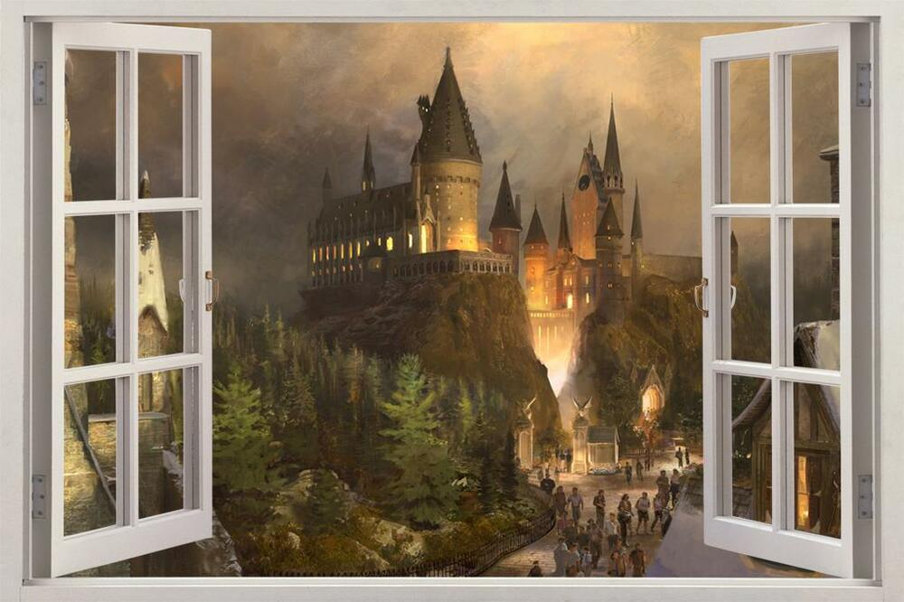 Hogwarts harry potter 3d window view decal graphic wall for Castle window mural