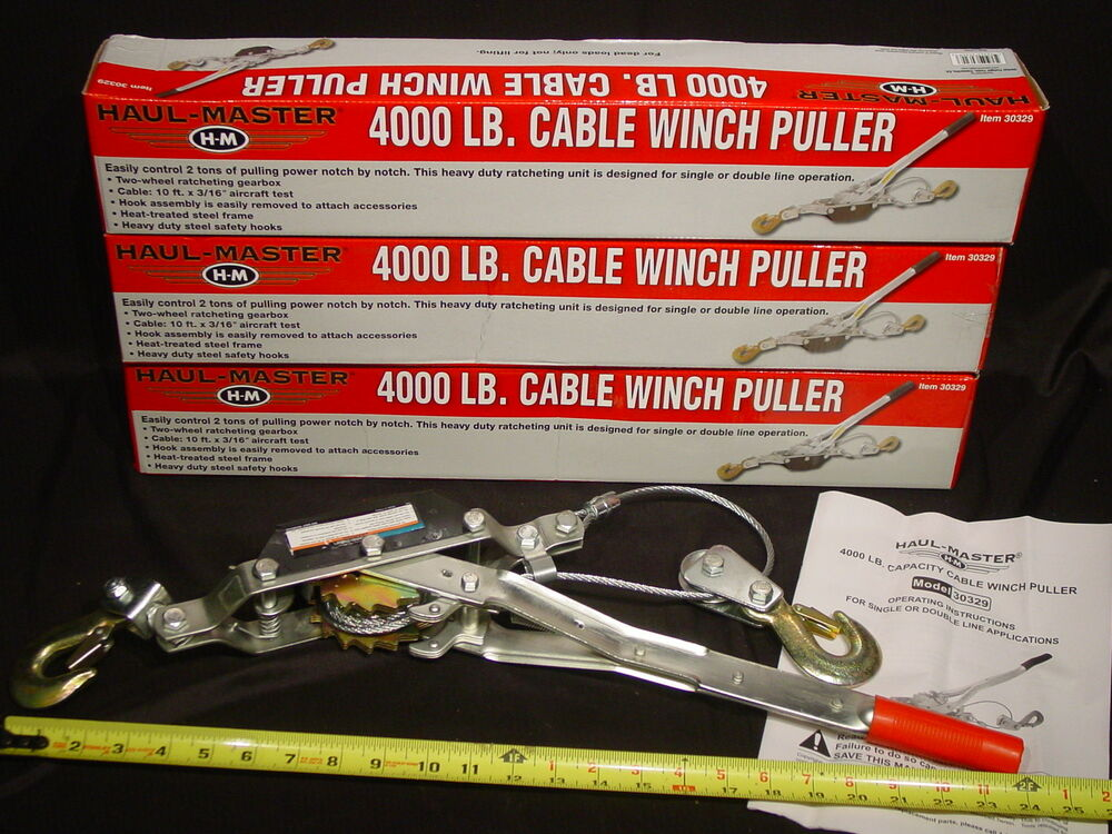 Lot 3 Ratcheting Aircraft Cable Winch Hoist Puller 4000 Lb