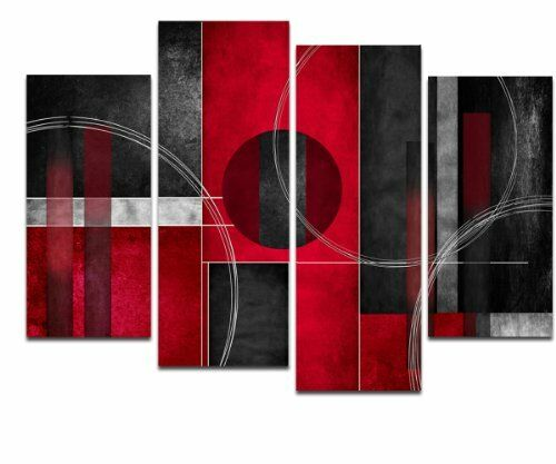Wieco Art 4 Panels Red And Black With Circles Abstract