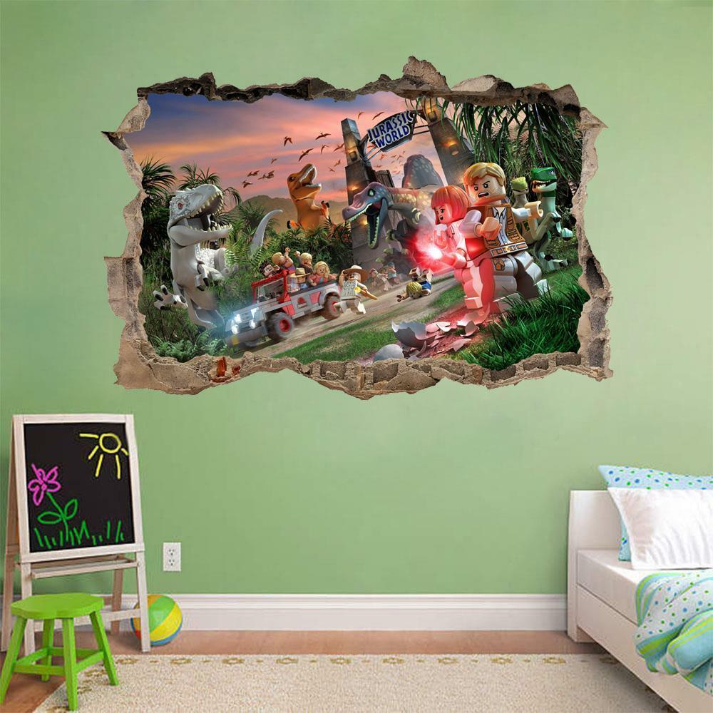 Jurassic World Lego Smashed Wall Decal Removable Wall