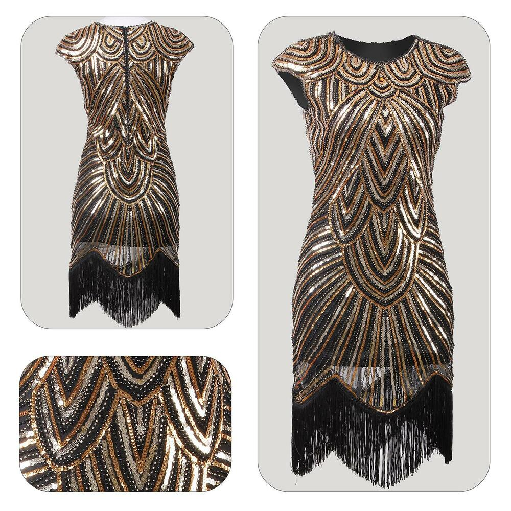 Gatsby Dresses: 20s 1920s Flapper Dress Gatsby Charleston Fringe Sequin