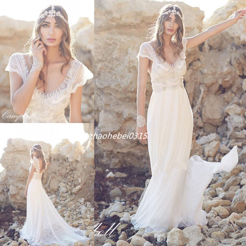 2017 Bohemian Beach Wedding Dresses V Neck Luxury Diamond