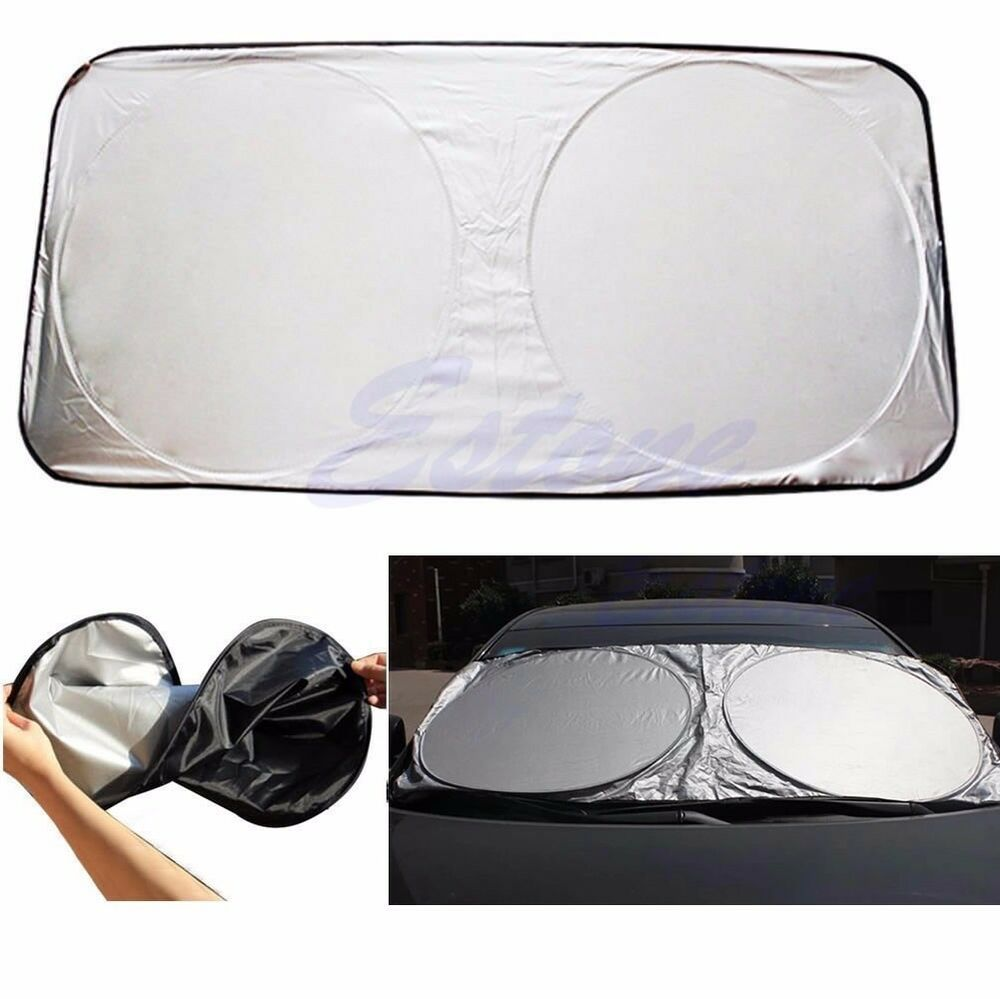 auto car front rear window foldable jumbo visor sun shade windshield cover block ebay. Black Bedroom Furniture Sets. Home Design Ideas