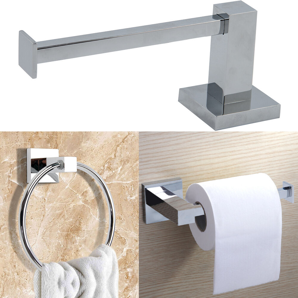 Modern Chrome Square Bathroom Toilet Tissue Paper Roll Holder Towel Ring Set Ebay
