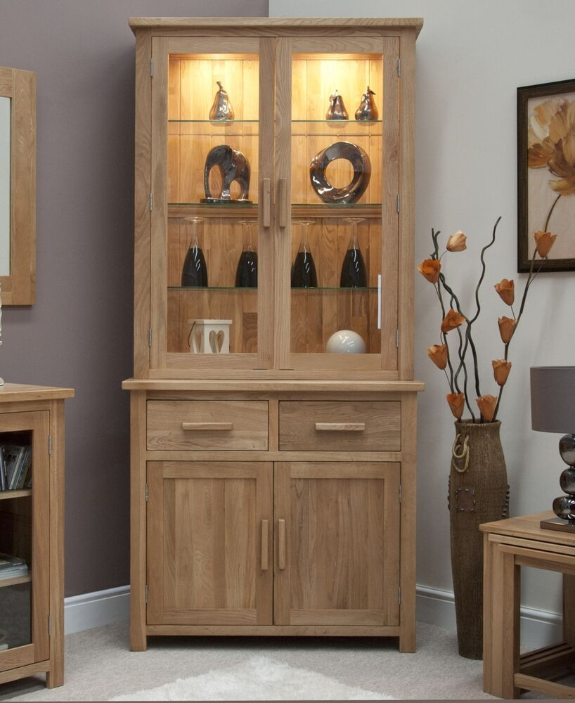 Eton Solid Oak Living Dining Room Furniture Small Dresser Display Cabinet