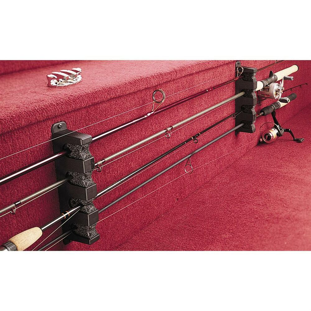 Fishing 4 Rod Rack Horizontal Boat Mount Holder Pole Rods