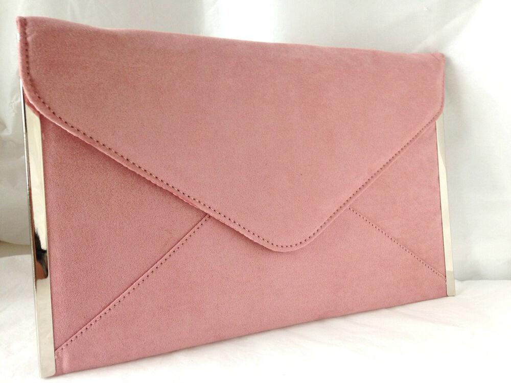 New Baby Pink Blush Faux Suede Evening Day Clutch Bag Envelope Wedding Party Ebay
